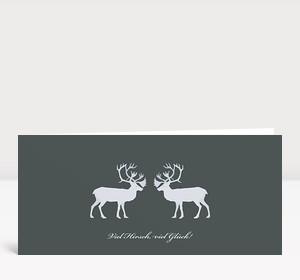 Weihnachtskarte Viel Hirsch, viel Glück!