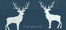 Weihnachtskarte Hirsche, Sterne, Streifen