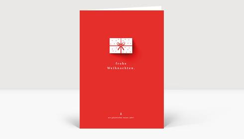 Weihnachtskarte Geschenk mit Schatten