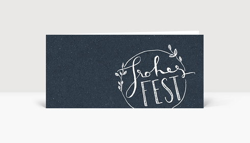 Weihnachtskarte Frohes Fest - Handlettering Dunkel