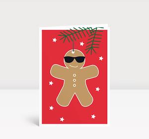 Weihnachtskarte Lebkuchenmann mit Sonnenbrille