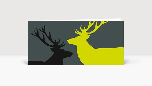 Weihnachtskarte Zwei Hirsche in schwarz und grün