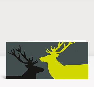 Weihnachtskarte Zwei Hirsche