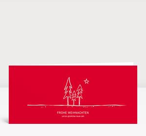 Weihnachtskarte Tannenwald rot