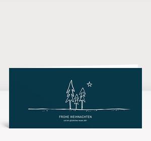 Weihnachtskarte Nächtlicher Tannenwald