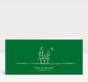 Weihnachtskarte Tannenwald grün