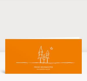 Weihnachtskarte Tannenwald orange