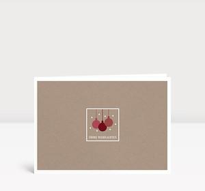 Weihnachtskarte Kleine Weihnachtskugeln Rot