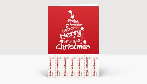 Weihnachtskarte Abrisskarte: Weihnachtsgrüße für jeden Kollegen auf rot