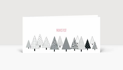 Weihnachtskarte Grafisches Weihnachtswäldchen schwarz/weiß