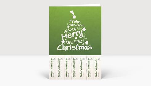 Weihnachtskarte Abrisskarte: Weihnachtsgrüße für jeden Kollegen auf grün