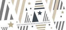 Weihnachtskarte Weihnachtsbäume grafisch grau-beige