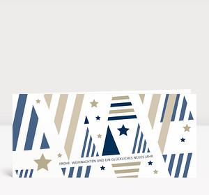 Weihnachtskarte Weihnachtsbäume grafisch blau-beige