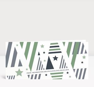 Weihnachtskarte Weihnachtsbäume grafisch grün