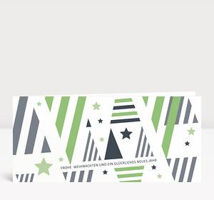 Weihnachtskarte Weihnachtsbäume grafisch hellgrün