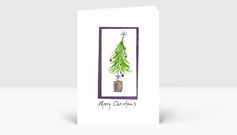Weihnachtskarte Weihnachtsbaum gezeichnet in grün und violett