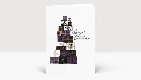 Weihnachtskarte Geschenke gezeichnet schwarz violett