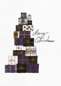 Weihnachtskarte Geschenke gezeichnet
