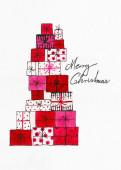 Weihnachtskarte Geschenke gezeichnet rot