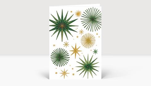 Weihnachtskarte Weihnachtssterne Gold und Grün