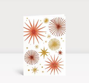 Weihnachtskarte Weihnachtssterne Gold und Orange