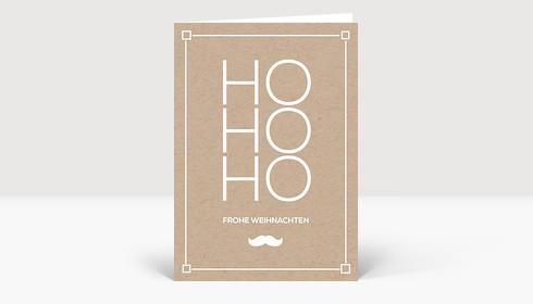 Weihnachtskarte HoHoHo Kraftpapier