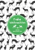 Weihnachtskarte Hirschmuster Grün