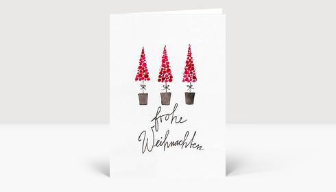 Weihnachtskarte Drei kleine Bäumchen gezeichnet rot