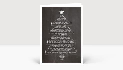 Weihnachtskarte Weihnachtsbaum International auf Kreidetafel