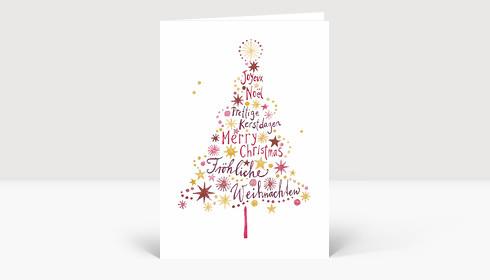 weihnachtskarte weihnachtsbaum international ros und gold. Black Bedroom Furniture Sets. Home Design Ideas