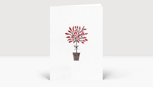 Weihnachtskarte Baum mit roten Beeren gezeichnet