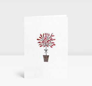 Weihnachtskarte Baum mit roten Beeren