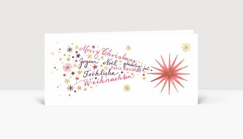 Weihnachtskarte Weihnachtskomet International, Rosé und Gold