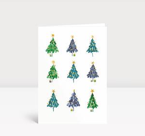 Weihnachtskarte Neun Elegante Weihnachtsbäumchen