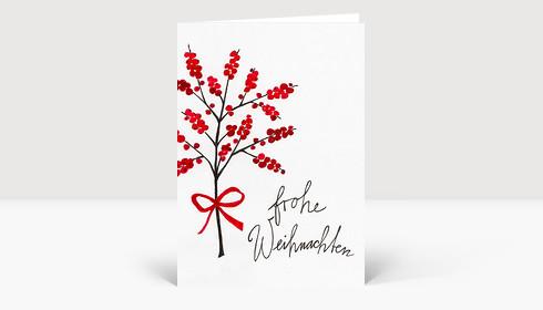 Weihnachtskarte Mistelzweig mit roten Beeren gezeichnet