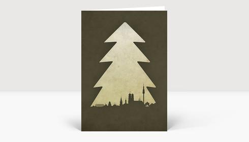 Weihnachtskarte München Baum grau-braun