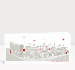 Weihnachtskarte Weihnachtliches Elbpanorama Graubraun Rot