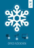 Weihnachtskarte Office-Flöckchen Blau