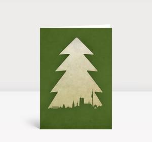 Weihnachtskarte München Baum grün