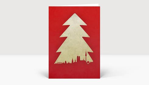Weihnachtskarte München Baum rot