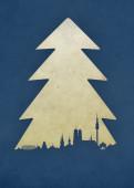 Weihnachtskarte München Baum blau