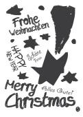 Weihnachtskarte Graffiti Schwarz