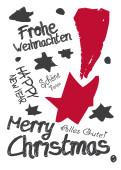 Weihnachtskarte Graffiti rot