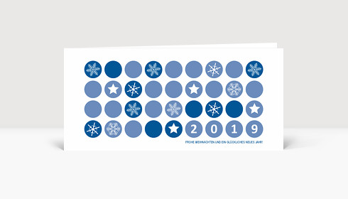 Weihnachtskarte Schneeflocken 2019 Blau
