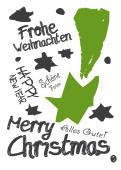 Weihnachtskarte Graffiti Grün