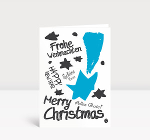 Weihnachtskarte Graffiti Blau