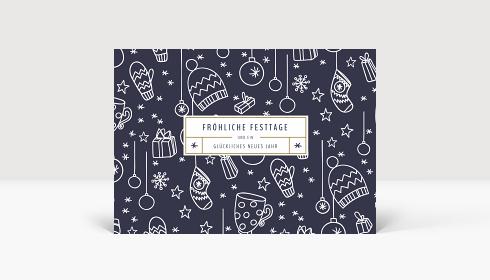 Weihnachtskarte Fröhliche Festtage Blau, Karte Groß Quer