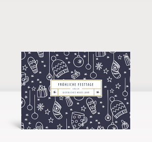 Weihnachtskarte Fröhliche Festtage Blau