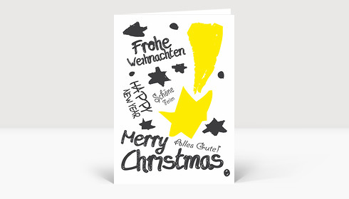 Weihnachtskarte Graffiti Gelb