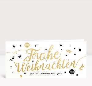 Weihnachtskarte Frohe Weihnachten Gold